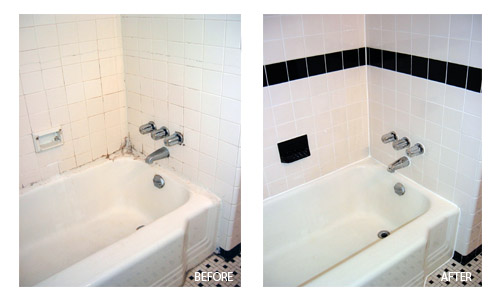 Before and after regrouted recaulked tub and tile floor